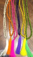 Wooden Bead Necklace with Tassel