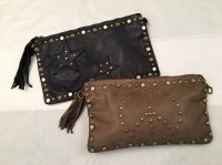 Rustic Leather Bag With Star and Stud Detail