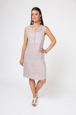 Cowl Neck Linen Dress With Button