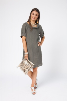 Linen Dress With Cowl Neck and Sleeves