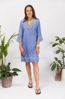 Luxe Linen Dress with Lace Detail