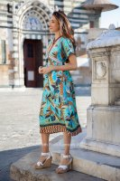 Floral V Neck Dress With Lurex Detail