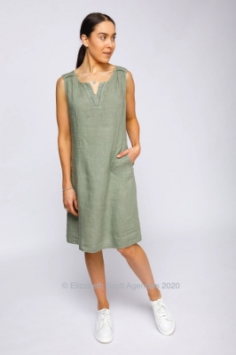 Sleeveless Linen Dress With V Neck and Trim Detail