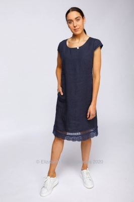 Linen Dress With Lace Detailed Hem