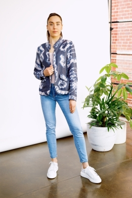 Tie Dye Linen Jacket With Star