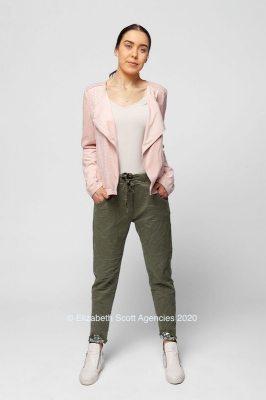 Suedette Jacket With Angle Zip And Perforations