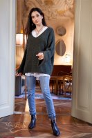 Wool Blend V Neck Knit With Kimono Sleeves