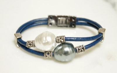 Leather Bracelet With Pearls and Filigree Detail