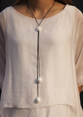 Long Leather Neckpiece With 3 Large Pearls