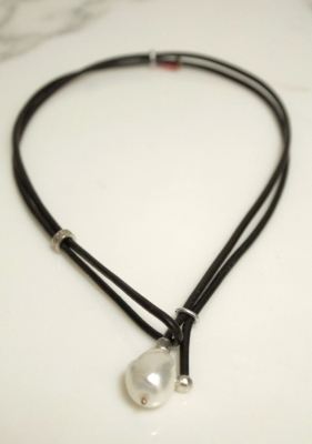 Leather Neckpiece with Single Pearl