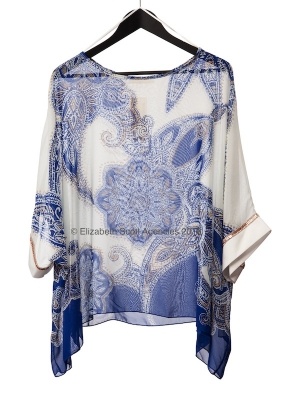 Persian Blue Paisley Top with Rose Gold Cuff Detail