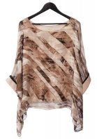 Marbled Umber Top with Black Diamante Cuff Detail