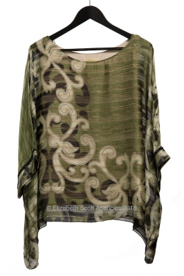 Khaki Paisley Front Top with Black Diamante Cuff Detail