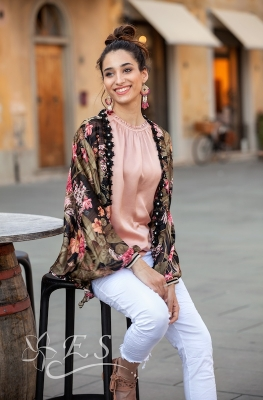 Floral Print Cape With Tie Front