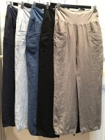 Linen Pants With Curved Pocket