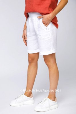 Linen Shorts With Button Detail