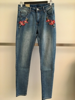 Embroidered French Jeans and Pearls