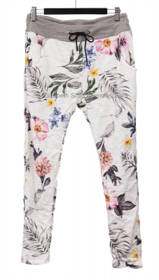 Floral Print Pant With Waistband