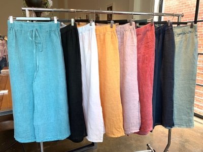 Linen Vintage Wash Pants With Drawstring