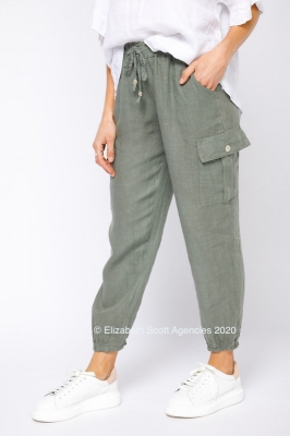 Linen Pants With Patch Pocket and Tie