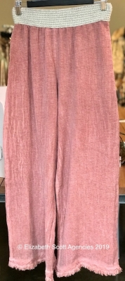 Linen/Cotton Pants With Raw Edge and Waistband Detail