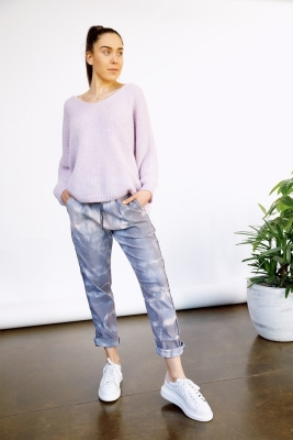 Summer Tie Dye Pants with Lurex Stripe
