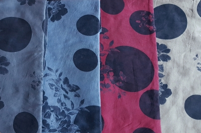 Large Spot with Flower Scarf - Indigo Print