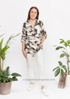 Viscose Shirt with Sequin Pocket - Camo Print