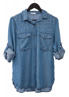 Tencel Shirt with Pearls