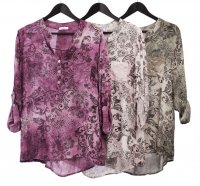 Floral/Leopard Print Viscose Shirt with Sequin Pocket