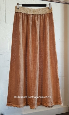 Linen/Cotton Raw Edge Skirt WithWaistband Detail