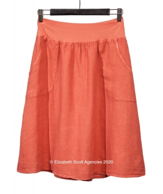 A-Line Linen Skirt with side Pockets