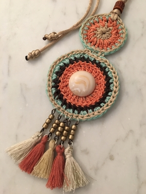 Spanish Crochet Gypsy Twin Pendant