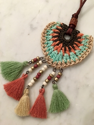 Spanish Crochet Tribal Neck Piece With Tassel