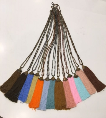 Antique Tassel Necklace With Stone Beads