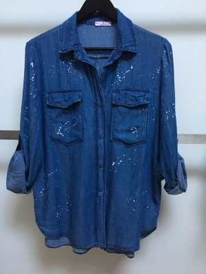 Tencel Shirt with Paint Splash Effect