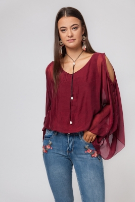 Silk Top With Open Sleeves