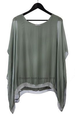 Silk Top With Silver Mesh