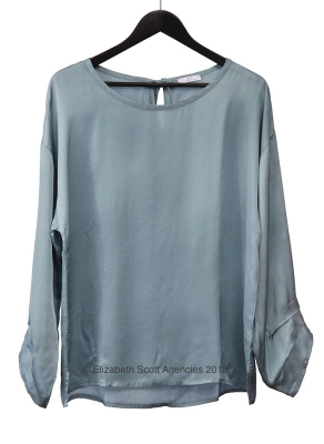 Satin Top With Layered Sleeve
