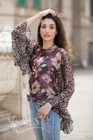 Floral Print Top With Leopard Sleeve