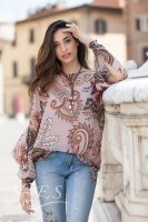 Paisley Floral Print Top With Sleeve Detail