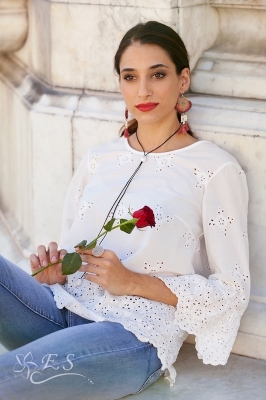 Broderie Anglaise Cotton Print Top With Frill Sleeve Detail