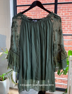 Silk Top With Embroidered Sleeve