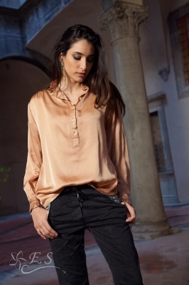 Frill Neck Satin Shirt