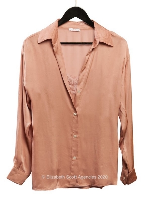 Satin Shirt With Lace Cami Detail