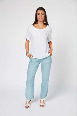 Linen Top With Button Detail