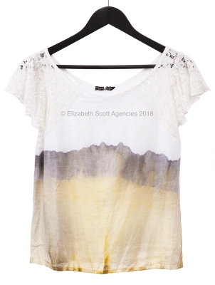 Tie Dye Linen Top With Lace