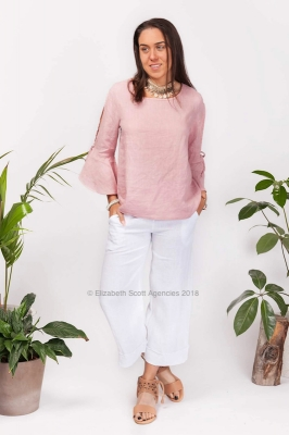 Bell Sleeve Linen Top With Ties