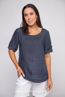 Linen Top With Mesh Detail
