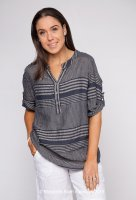 Stripe Linen Top With V Neck Buttons